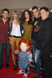 Chucky and the cast of Curse of Chucky L - R: Brennan Elliott, Maitland McConnell, Fiona Dourif, Dan Mancini and A Martinez at the HALLOWEEN HORROR NIGHTS EYEGORE AWARDS at Universal Studios Hollywood, Septemember 20, 2013. Photo Credit Sue Schneider_MGP Agency